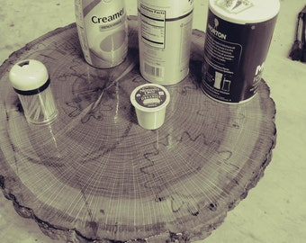 Tabletop log with a lazy susan