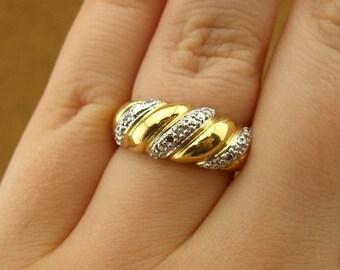 Vintage Sterling Silver Vermeil Twist Ring