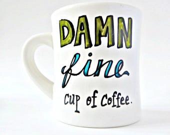 Funny coffee mug, Twin Peaks, damn fine, Agent Dale Cooper, personalized, gift, diner mug, cup, David Lynch, tv series, quote mug, ceramic
