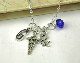 Personalized Pharmacist Necklace with Your Initial and Birthstone
