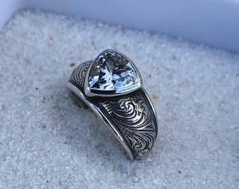 Rockin Out Jewelry - Lola - Ring - Elegant - Sterling Silver - 10mm - Trillion - Statement - Engagement - Wedding - Western Style - CZ