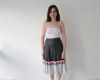 Vintage 1970s Ladies High Waist Grid Print Midi Skirt