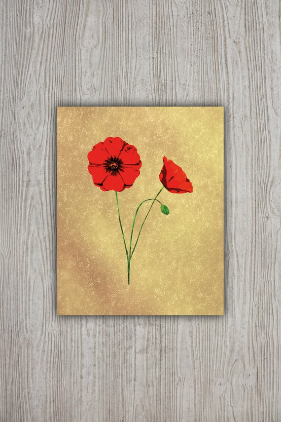 Red Poppies Wall Art Print 8x10 Floral Poster Flower