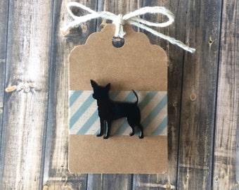 Black Chihuahua Lapel Pin - Laser Cut Acrylic - Tack Backing w Clutch Clasp - Dog Silhouette