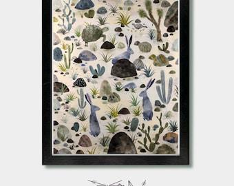 Cactus Decor - Desert Dwellers - Arizona, Art Prints, Cactus Prints, Peter Rabbit, Southwestern Decor, Boho, Desert, Mid Century Modern, Art