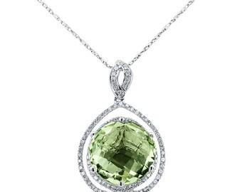 Green Amethyst And Diamond Pendant / Amethyst Pendant / Diamond Pendant / 14k Gold Pendant / Ladies Pendant / White Gold Diamond Pendant