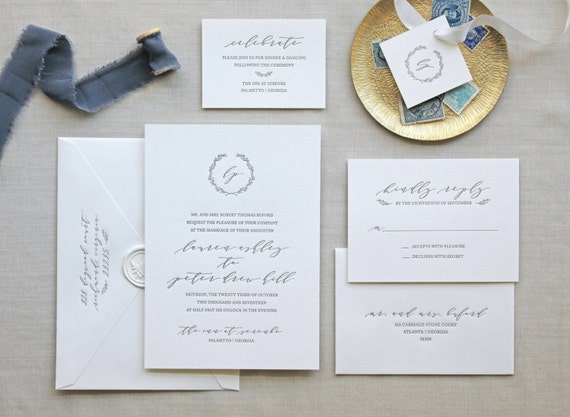 Serenbe letterpress wedding invitation stopboris Image collections
