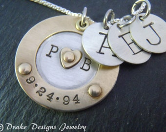 family initial necklace sterling silver mixed metal personalized mothers necklace