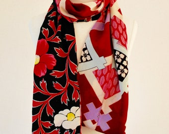 Vintage silk kimono Scarf 2 types of fabric with Black pink flower patterns and Red multicolor geometric pattern.