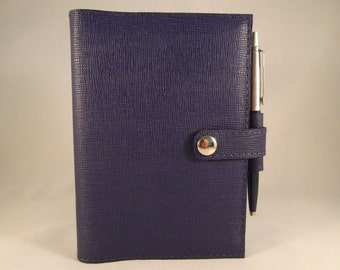 Real Leather Purple A6 Notebook Cover/Diary Cover/Journal Cover complete with Notebook.