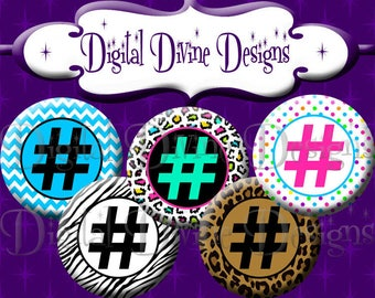 Hashtag - 1 inch round digital graphics - Instant Download