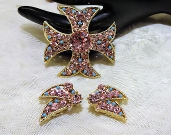 Beautiful BSK Pink Rhinestone and Blue Seed Bead Maltese Cross and Earrings