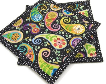 Cotton Hot Pads, Quilted Pot Holders, Colorful Flower Paisley on Black Cotton Fabric 8 Inch Potholders, Set of 2, Housewarming Gift
