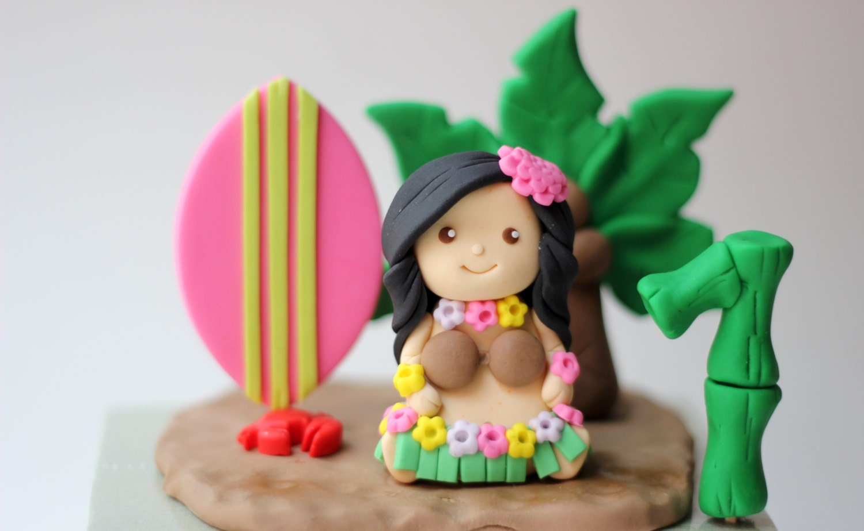 Fondant Hula Chica Pastel Topper Juego Ni A Hawaiana  # Muebles Hawaianos