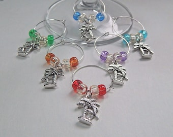 Wine Glass Charms Drink Markers Tibetan Silver Charm Rings Palm Trees Set Of 6 Beach/Ocean/Nautical/Coastal Wine Rings