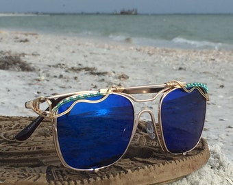 NEW STyLE Classic Blue Reflective Women's Sunglasses ~ SPUNGLASSES ~ Gold Silver Wire Wrapped New Festival Boho Hippie Bohemian Sun Sunnies
