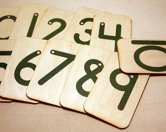 """Sandpaper Numbers 0-10 mounted on 3""""x5"""" birch wood"""