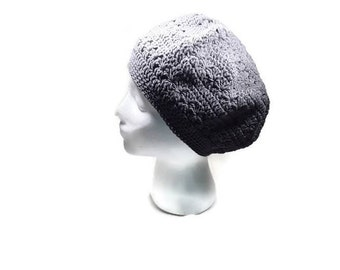 Summer Cotton hat beret cap crochet gray beanie