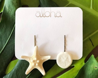 Starfish Hair Clips - BEACH WEDDING - Sand dollar -  Beach Hair Accessories - Knobby Starfish Clip - Starfish Hair Pins - Mermaid Hair
