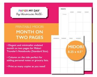Midori Traveler's Notebook Month on Two Pages - Midori TN Inserts - Midori Calendar Printable