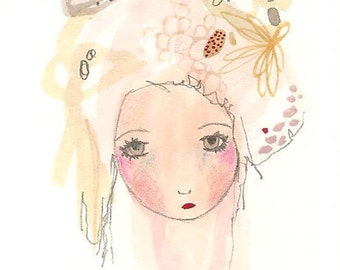 Print girl illustration whimsical abstract art painting 8 x 10 inches
