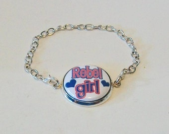 Fun Red White and Blue Rebel Girl Silver Chain Fashion Bracelet