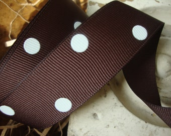 Chocolate Brown Grosgrain Ribbon with White Polks Dots