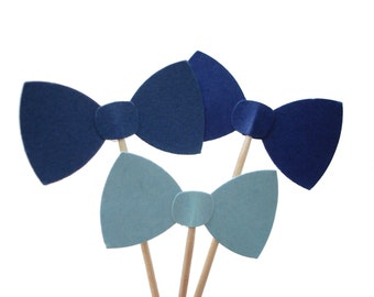 24 Mixed Blue Bow Tie Party Picks, Cupcake Toppers, Food Picks, Toothpicks, Drink Picks - party supplies - No199