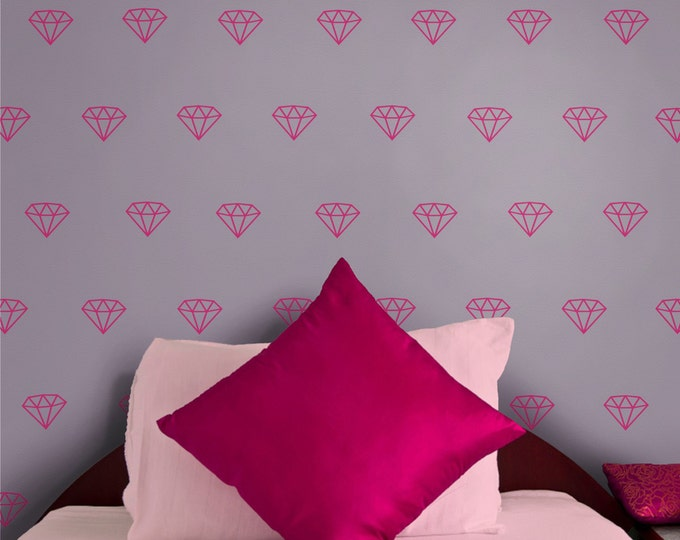 diamond pattern vinyl wall decal set, gemstone wall stickers, jewel art, bling, gift for girls, diamonds wall decor, jewel