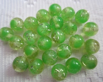 25  Lime Green & Clear Sparkle Round Acrylic Beads  9mm