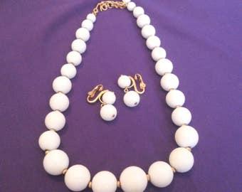 Vintage Monet White Bead Necklace and Earring Demi Parure