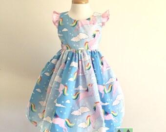 Unicorn retro rockabilly summer tie back girl's dress