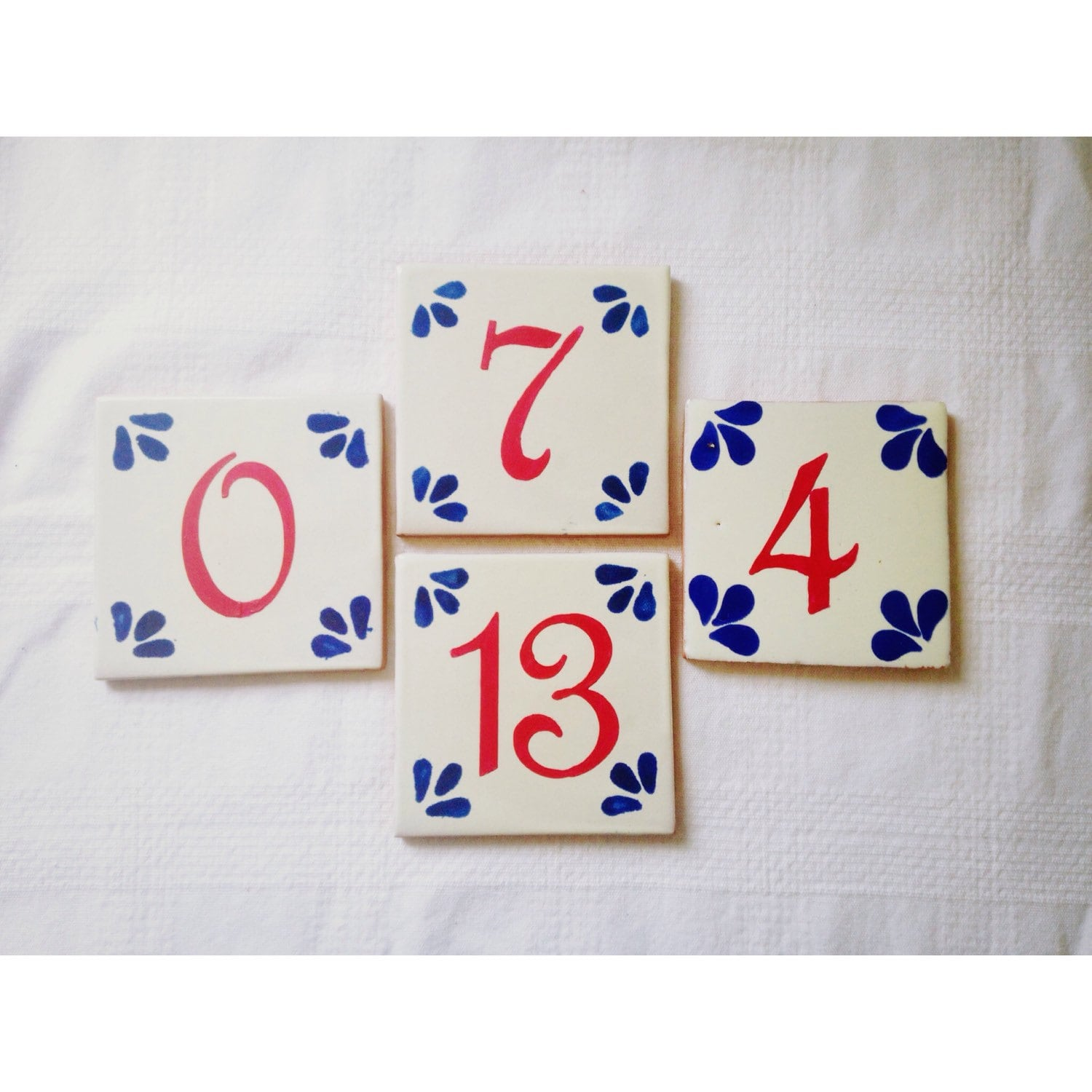 Hand painted spanishmexican tile wedding table numbers zoom dailygadgetfo Image collections