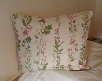 Embroidered Floral and Stripe Pillow Cover
