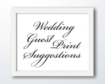 Suggestions for your Wedding Guest Print