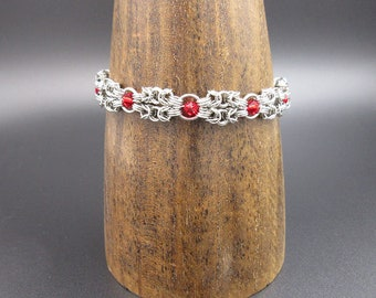 Twin Capture Byzantine Stainless Steel Chainmaille Bracelet