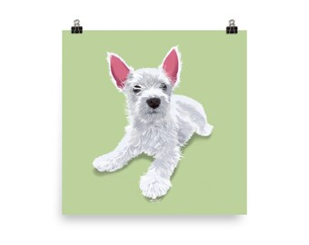 Puppy Love Poster - Green