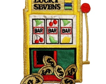 ID 0058 Slot Machine Casino Embroidered Iron On Badge Applique Patch