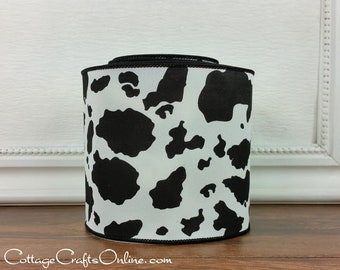 """Wired Ribbon, 4"""" Black and Off- White Cow Hide Print - TEN YARD ROLL - """"Cow Spot 100"""" Craft Wire Edged Ribbon"""