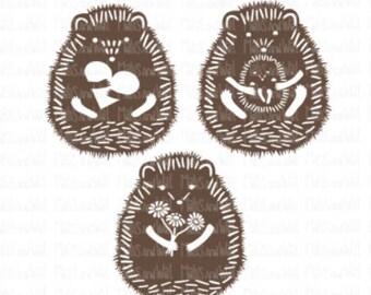 Hedgehog svg/png/dxf cricut/silhouette digital cutting file/woodland svg/animal svg/hedgehog trio/heart/baby/flowers svg/hedgehogs svg/HTV