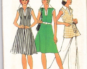 Simplicity 6392 Misses Vintage Sewing Pattern 1970s A-Line Big Collar Dress Top Pants Size 12 Bust 34