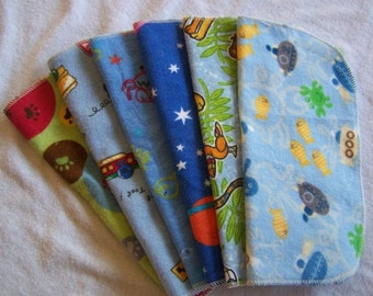 Reusable Baby Toddler Flannel and Birdseye Wipe Assortment 6 pk  Choose Boy Girl Neutral Prints Cloth Diaper Cloth Napkin