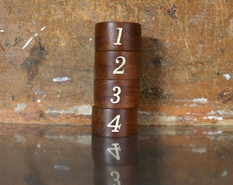 Teak Napkin Rings- Numbered Napkin Holders- Set of Four Vintage - Retro Bed and Breakfast