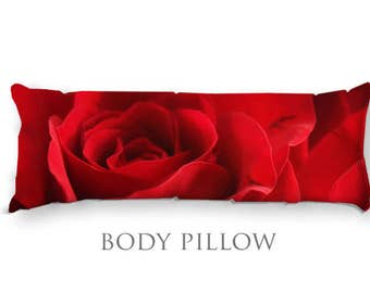 Rose Body Pillow-Red Rose Pillow-Fleece Bed Pillow Cover-Sleeping Pillow-Extra Large Pillow-Fleece Pillow Cover-Red Pillow Cover-Bed Bolster