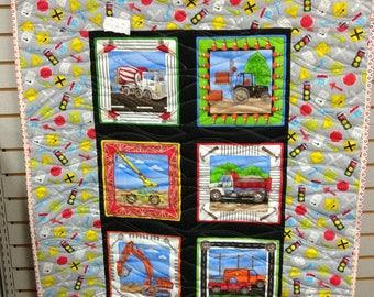 Construction Vehicles Child's Quilt. Crib quilt blanket wallhanging baby boy girl child road signs mixer dump truck crane trucks 4806
