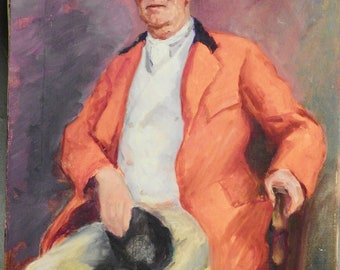 Paul L Olson Portrait Painting English Gentleman In Red