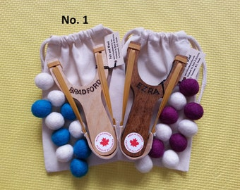 Set of 2 - No. 1 - Personalized Handmade Wooden Slingshots Toy with Felt Balls Ammo, Unique Children Gifts. Made in Canada.