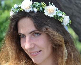 Bridal flower crown Ivory floral headpiece Rustic wedding Flower girl hair Wedding flower headband Bridal shower Romantic wedding crown