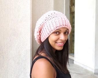 Crochet Slouchy Hat, Tam Hat, Oversize Hat, Crochet, Women, Color is Pink,
