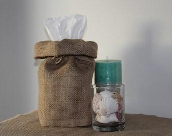 Burlap Tissue Box Cover